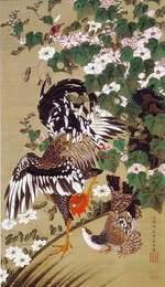 『芙蓉双鶏図』~「花鳥-愛でる心、彩る技 <若冲を中心に>」第5期:8月12日(土)~9月10日(日)