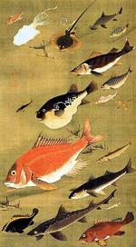 『群魚図(鯛)』~「花鳥-愛でる心、彩る技 <若冲を中心に>」第5期:8月12日(土)~9月10日(日)