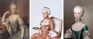 左:「Marie Antoinette at the age of 12」Archduchess Marie Antoinette Habsburg-Lotharingen  中央:Marie Antoinette. Kreide-Rötel-Zeichnung von J. E. Liotard, 1762 (Gottfried-Keller-Stiftung, Genf) 右:Marie Antoinette Daughter of Emperor Francis I and Maria Theresa of Austria ジャン・エティエンヌ・リオタール