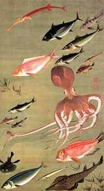 『群魚図(蛸)』~「花鳥-愛でる心、彩る技 <若冲を中心に>」第5期:8月12日(土)~9月10日(日)